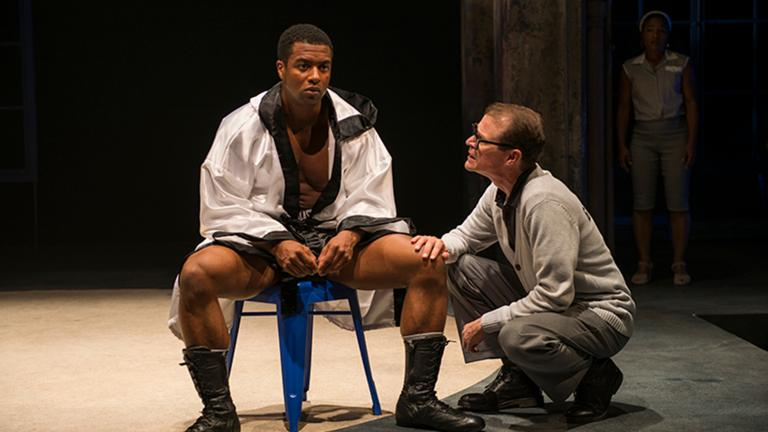 "Kamal Angelo Bolden, Thomas J. Cox in a scene from ""Man in the Ring."" (Michael Brosilow / Court Theatre)"