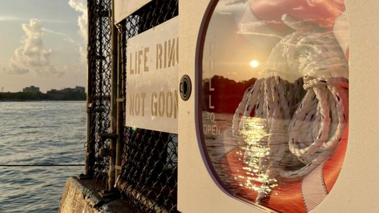 A life ring installed on the lakefront by Rogers Park activist Jim Ginderske. (Credit Halle Quezada / Twitter)