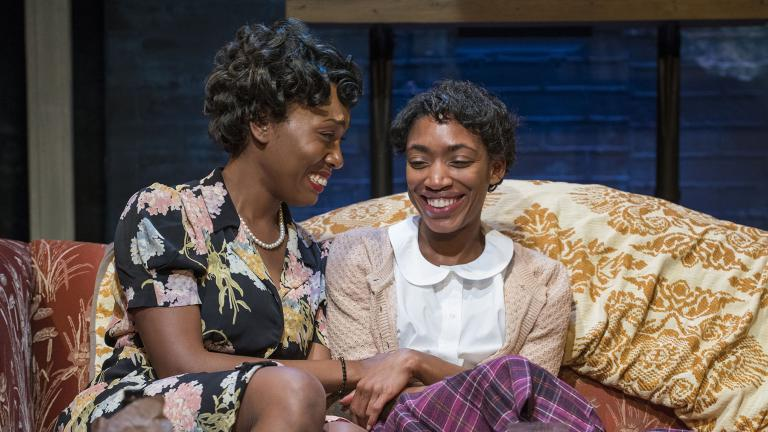 "Brianna Buckley, left, and Chanell Bell in ""Crumbs from the Table of Joy,"" by Lynn Nottage. (Photo by Michael Brosilow)"