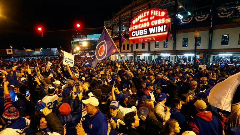 Chicago Cubs fans celebrate Sunday night's win over the Cleveland Indians. (Credit: MLB / Twitter)