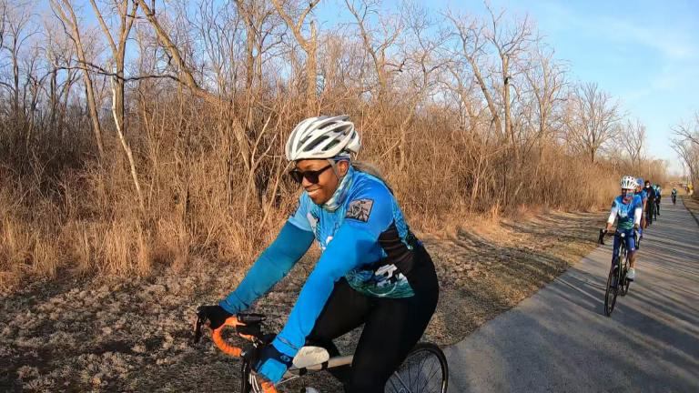 Members of the Chicago chapter of Black Girls Do Bike. (WTTW News)