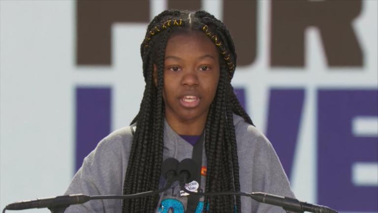 Chicago student Mya Middleton, 16, speaks at the March For Our Lives in Washington, D.C., on March 24, 2018.