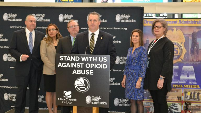 Robert J. Bell, U.S. DEA associate special agent in charge of the Chicago field division office, announces Thursday, Feb. 14 the launch of a yearlong digital billboard campaign against the opioid epidemic. (Kristen Thometz / Chicago Tonight)