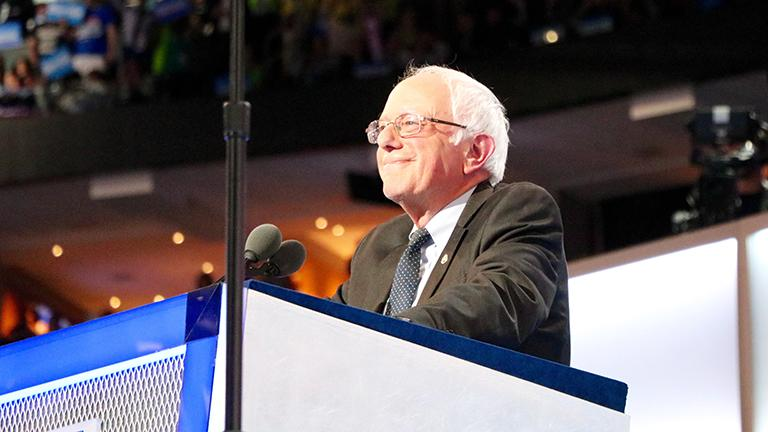 Vermont Sen. and former Democratic presidential candidate Bernie Sanders delivers the final speech on the first day of the DNC. (Evan Garcia / Chicago Tonight)