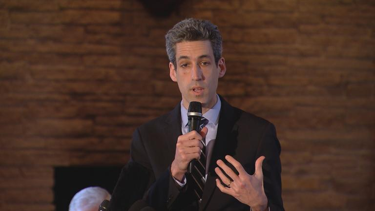 Daniel Biss speaks to Cook County Democratic committeemen on March 27, 2017. (Chicago Tonight)
