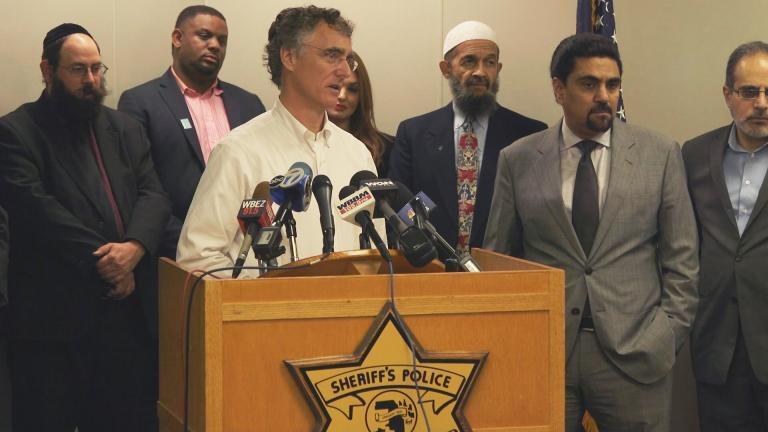 Cook County Sheriff Thomas Dart and leaders from religious and minority communities announce a new hotline for reporting incidents of discrimination. (Chicago Tonight)