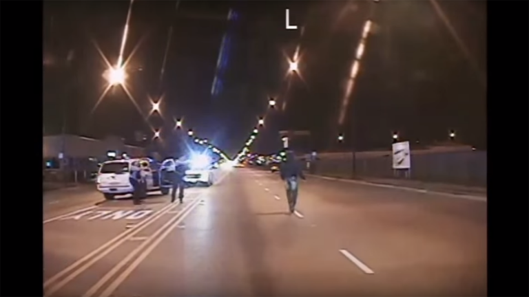 Police dashcam footage captured the shooting of Laquan McDonald, center, on a Southwest Side street in 2014.