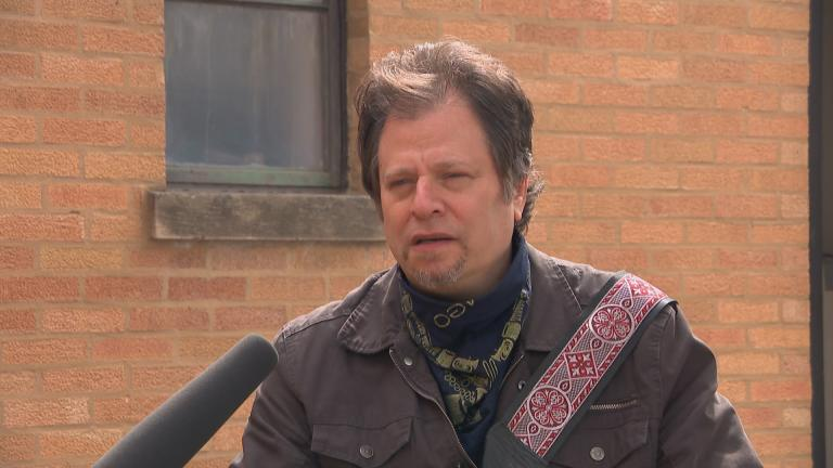 Chicago musician Dave Specter speaks with WTTW News outside Delmark Records.
