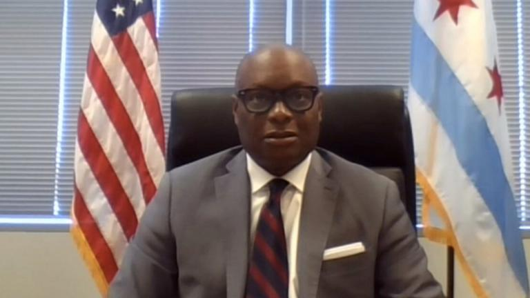Acting Chicago Police Superintendent David Brown attends a virtual Chicago City Council committee meeting on Monday, April 20, 2020. (WTTW News via City of Chicago)