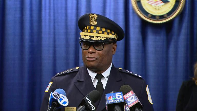 Police Superintendent David Brown speaks at a news conference Thursday, July 8, 2021 about a shooting that injured three law enforcement officers the previous morning. (WTTW News)