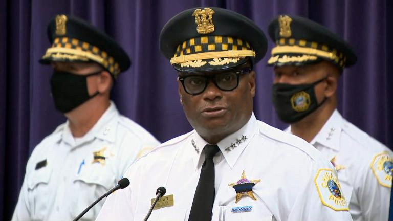 Chicago police Superintendent David Brown speaks at a news conference announcing charges in the fatal shooting of a Chicago police officer on Monday, Aug. 9, 2021. (WTTW News)