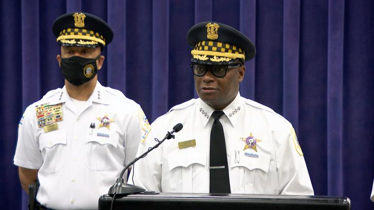 Chicago police Superintendent David Brown talks about his Monday meeting with President Joe Biden at a news conference on Tuesday, July 13, 2021. (WTTW News)