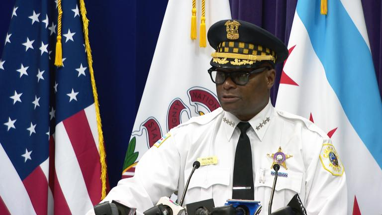 Chicago police Superintendent David Brown talks about city crime rates on Monday, Aug. 23, 2021. (WTTW News)