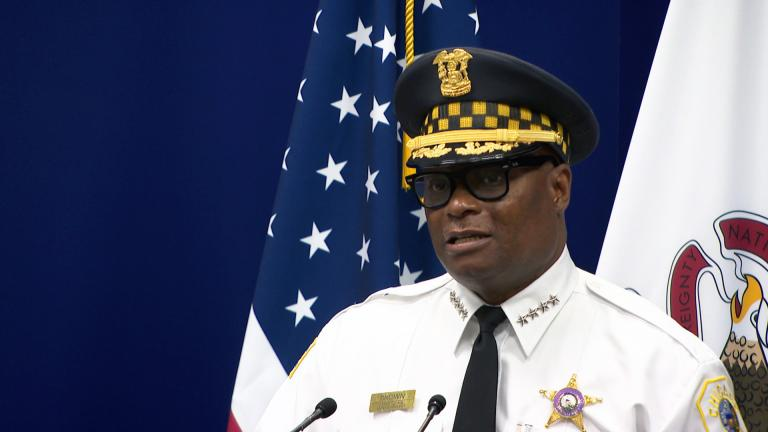 Chicago Police Superintendent David Brown talks about the flow of illegal guns into Chicago on Monday, July 19, 2021. (WTTW News)