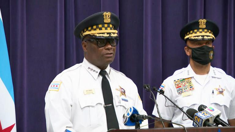 Chicago police Superintendent David Brown talks about weekend shooting incidents and homicides during a news conference Monday, Sept. 20, 2021. (WTTW News)
