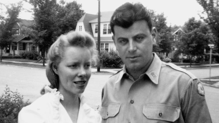 Elliott Maraniss on home leave in Ann Arbor with wife Mary in 1944 before heading to Camp Lee, Virginia, to command an all-black salvage and repair unit in the still-segregated U.S. Army. (Courtesy Simon & Schuster)