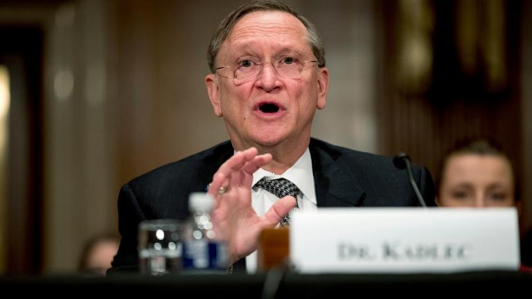 In this March 3, 2020 file photo, Health and Human Services Assistant Secretary for Preparedness and Response Dr. Robert Kadlec testifies before a Senate Education, Labor and Pensions Committee hearing on the coronavirus on Capitol Hill in Washington. (AP Photo / Andrew Harnik)