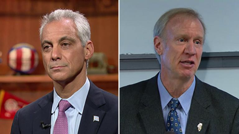 Mayor Rahm Emanuel, left, Gov. Bruce Rauner