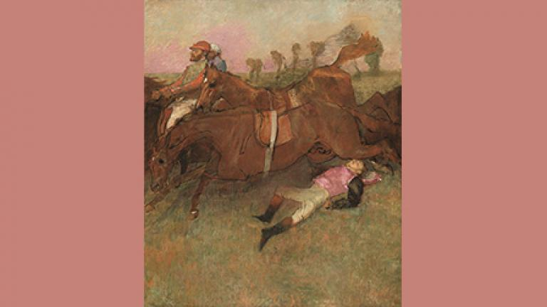 Edgar Degas. Scene from the Steeplechase: The Fallen Jockey, 1866, reworked 1880–1881 and c. 1897. National Gallery of Art, Washington, D.C., Collection of Mr. and Mrs. Paul Mellon, 1999.79.10.
