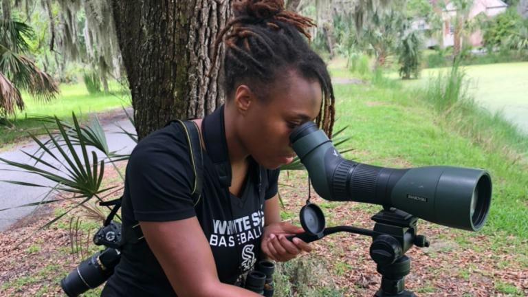 Deja Perkins, conducting field research. (Courtesy of Deja Perkins)