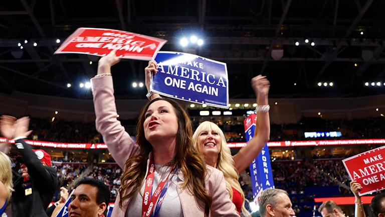 Delegates cheer during Donald Trump's speech at the RNC. (Evan Garcia / Chicago Tonight)