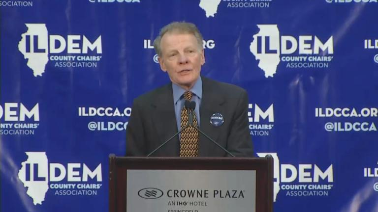 Illinois House Speaker Michael Madigan addresses the crowd at a Democratic Party breakfast in Springfield on Thursday, Aug. 16, 2018.
