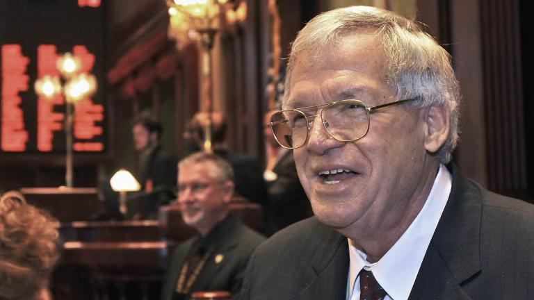 This March 5, 2008 file photo shows former U.S. House Speaker Dennis Hastert on the Illinois House of Representatives floor at the state capitol in Springfield, Ill. (AP Photo / Seth Perlman, File)