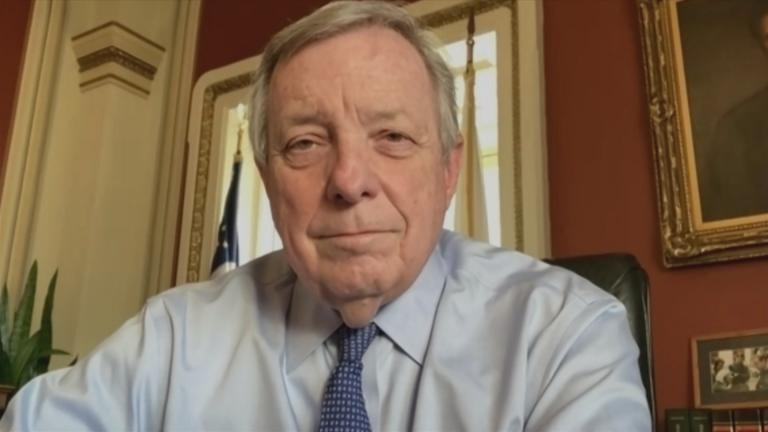 "Illinois Sen. Dick Durbin appears on ""Chicago Tonight"" via Zoom on Wednesday, Feb. 3, 2021. (WTTW News)"