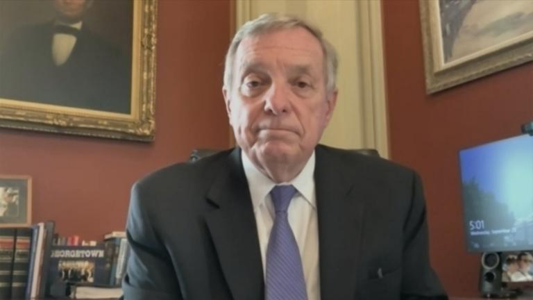 "U.S. Sen. Dick Durbin speaks with ""Chicago Tonight"" via Zoom on Wednesday, Sept. 23, 2020. (WTTW News)"