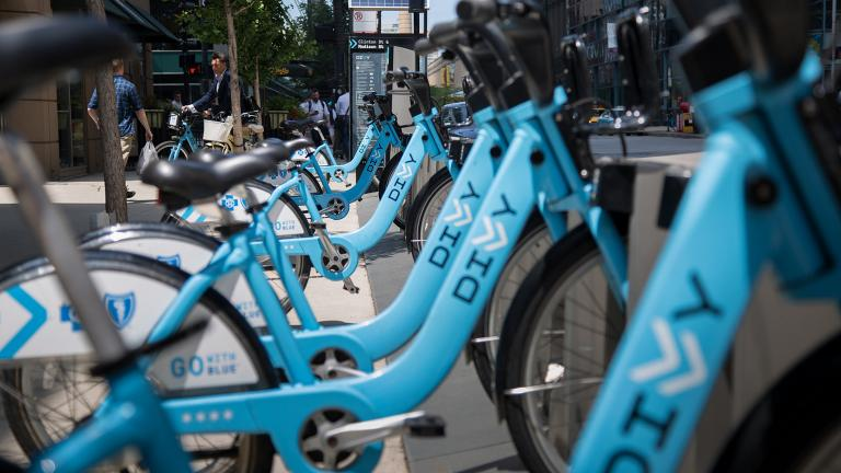 A Divvy docking station in the Chicago's West Loop. (Tony Webster / Flickr)