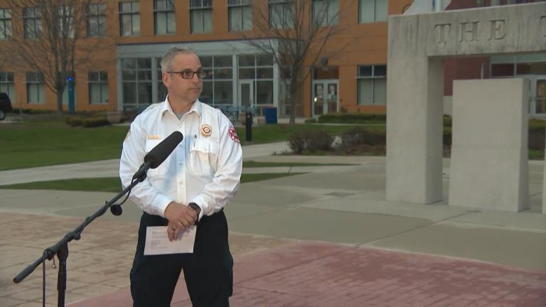 """Cicero Fire Chief Dominick Buscemi speaks with Paris Schutz on """"Chicago Tonight."""" (WTTW News)"""