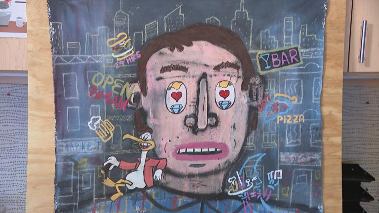 "Artwork by Dont Fret featured in the show ""Office Space for Rent."" (WTTW News)"
