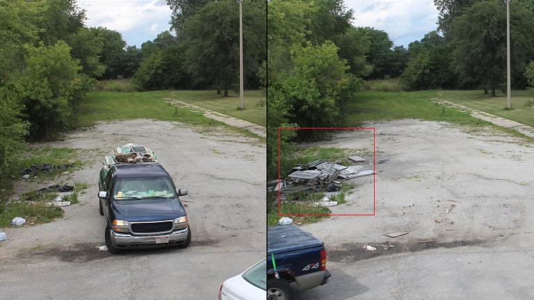 Before and after photos show an incidence of illegal dumping in Chicago. (Courtesy of Chicago Department of Streets and Sanitation)