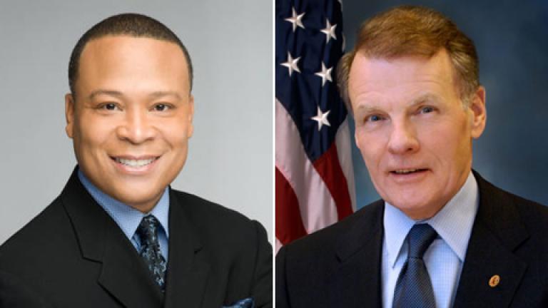 State Rep. Ken Dunkin (D-Chicago), left, House Speaker Michael Madigan