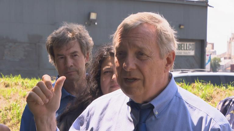 U.S. Sen. Dick Durbin holds a press conference Thursday, Aug. 9, 2018 in front of S.H. Bell's industrial facility along the Calumet River on the city's Southeast Side. (Chicago Tonight)
