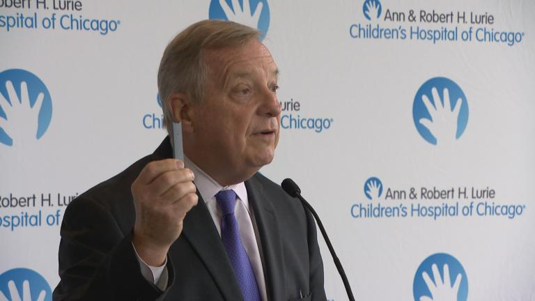 U.S. Sen. Dick Durbin calls on the Food and Drug Administration on Monday, Sept. 9, 2019, to take action to properly regulate e-cigarettes as the number of vaping-related illnesses and deaths continue to rise across the country. (WTTW News)