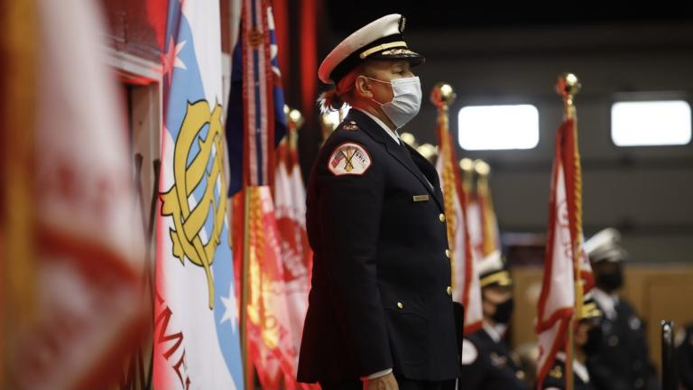 Annette Nance-Holt stands at attention while Mayor Lori Lightfoot announces her nomination as the next commissioner of the Chicago Fire Department. (Credit: Chicago Mayor's Office)