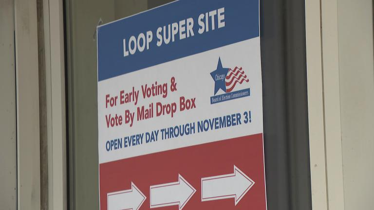 "Early voting for the Nov. 3 election is underway at Chicago's Loop ""super site,"" with another 50 locations set to open Oct. 14. (WTTW News)"