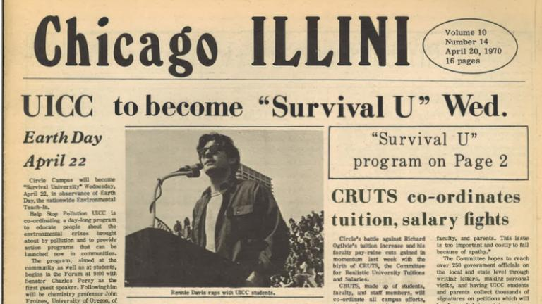 The University of Illinois at Chicago Circle (now UIC) was a hub for the first Earth Day. (Courtesy UIC archives)