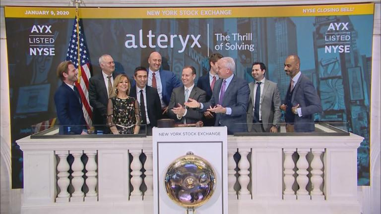 The closing bell of the New York Stock Exchange on Thursday, Jan. 9, 2020. (WTTW News via CNN)
