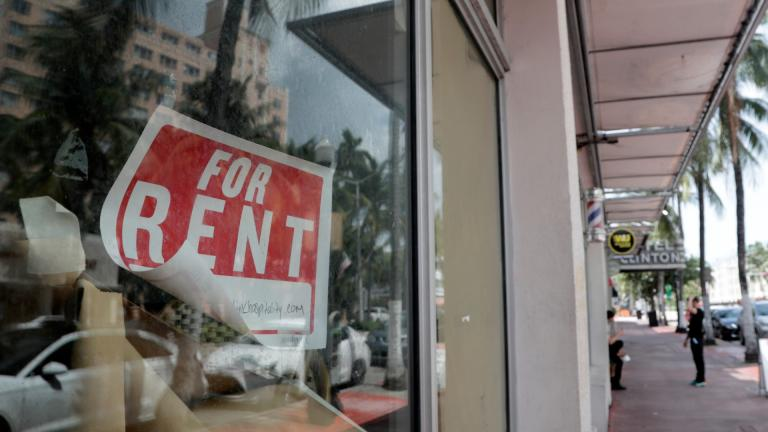 In this July 13, 2020 file photo, a For Rent sign hangs on a closed shop during the coronavirus pandemic in Miami Beach, Fla. (AP Photo / Lynne Sladky)