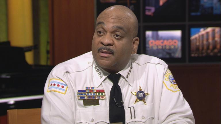 "Chicago Police Superintendent Eddie Johnson appears on ""Chicago Tonight"" on April 12, 2018."