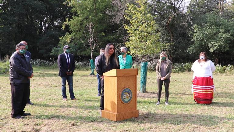 Artist Santiago X discusses his work Serpent Mound, a group of effigy mounds in Schiller Woods reminiscent of the earthwork built by Indigenous people, on Tuesday, Sept. 15, 2020. (Evan Garcia / WTTW News)