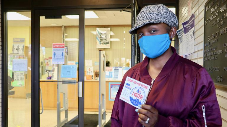 "Bronzeville resident Sharifa Wicks-Lot voted at the Martin Luther King, Jr. Library voting location and said she's been voting since she turned 18 years old. ""I have two children, a 11-year-old and a two-year-old, and I would want the best for their future in the coming years,"" Wicks-Lot said. (Evan Garcia / WTTW News)"