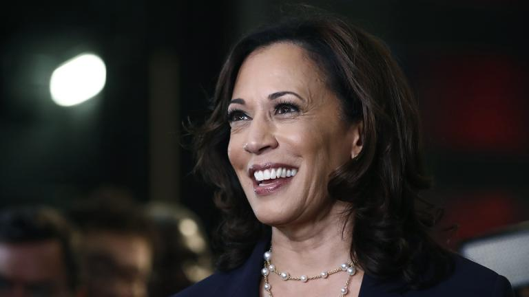In this June 27, 2019, file photo, then-Democratic presidential candidate Sen. Kamala Harris, D-Calif., listens to questions after the Democratic primary debate hosted by NBC News at the Adrienne Arsht Center for the Performing Art in Miami. (AP Photo / Brynn Anderson, File)