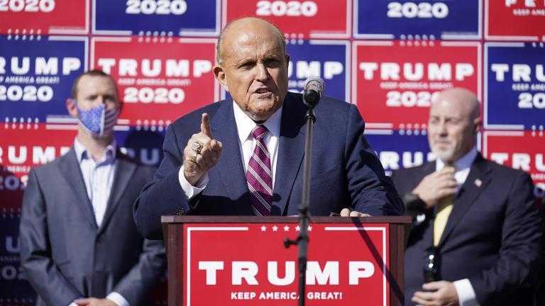 Former New York mayor Rudy Giuliani, a lawyer for President Donald Trump, speaks during a news conference on legal challenges to vote counting in Pennsylvania, Saturday Nov. 7, 2020, in Philadelphia. (AP Photo / John Minchillo)