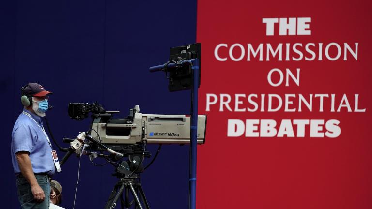 A camera operator waits for a rehearsal ahead of the first presidential debate between Republican candidate President Donald Trump and Democratic candidate former Vice President Joe Biden at the Health Education Campus of Case Western Reserve University, Monday, Sept. 28, 2020, in Cleveland. (AP Photo / Julio Cortez)