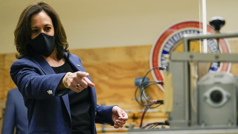 Democratic vice presidential candidate Sen. Kamala Harris, D-Calif., speaks during a tour of the IBEW 494 training facility Monday, Sept. 7, 2020, in Milwaukee. (AP Photo / Morry Gash)