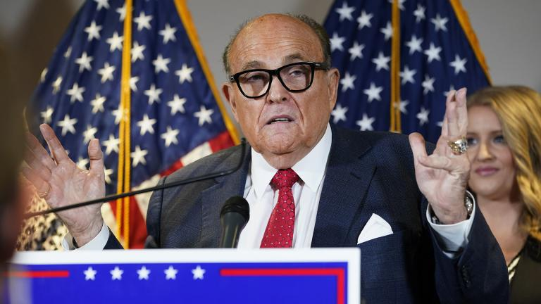 In this Nov. 19, 2020, file photo, former New York Mayor Rudy Giuliani, a lawyer for President Donald Trump, speaks during a news conference at the Republican National Committee headquarters, in Washington. (AP Photo / Jacquelyn Martin, File)