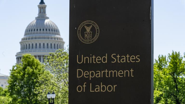 In this May 7, 2020, photo, the entrance to the Labor Department is seen near the Capitol in Washington. (AP Photo / J. Scott Applewhite)